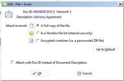 Attach Documents in Worldox to Outlook Emails
